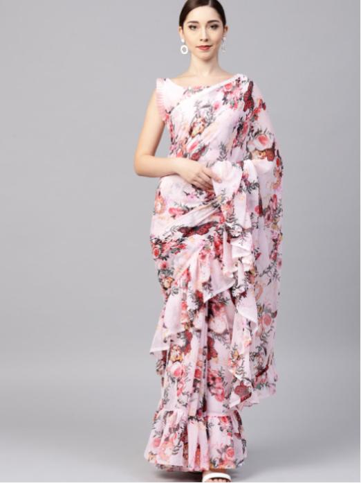 Floral chiffon saree_wedding trousseau packing